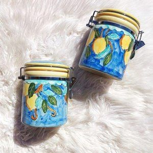 NWOT Handmade and Hand painted Lemon Canister Set
